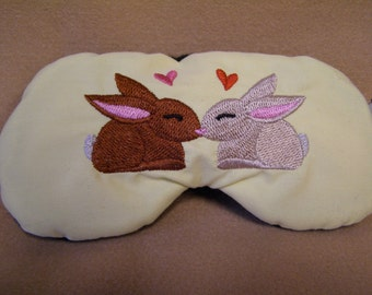 Embroidered Eye Mask for Sleeping, Cute Sleep Mask for Kids or Adults, Sleep Blindfold, Eye Shade, Love Slumber Mask, Bunny Design, Handmade