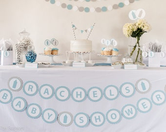 CUSTOM Name -  BABY SHOWER Banner,  Baby Shower Decoration, Baby Shower Banner, Blue Gray Decorations, Baby Shower Sign