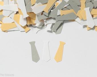 Little Man Baby Shower- Baby Boy Shower Decoration - Tie Confetti - Yellow Gray