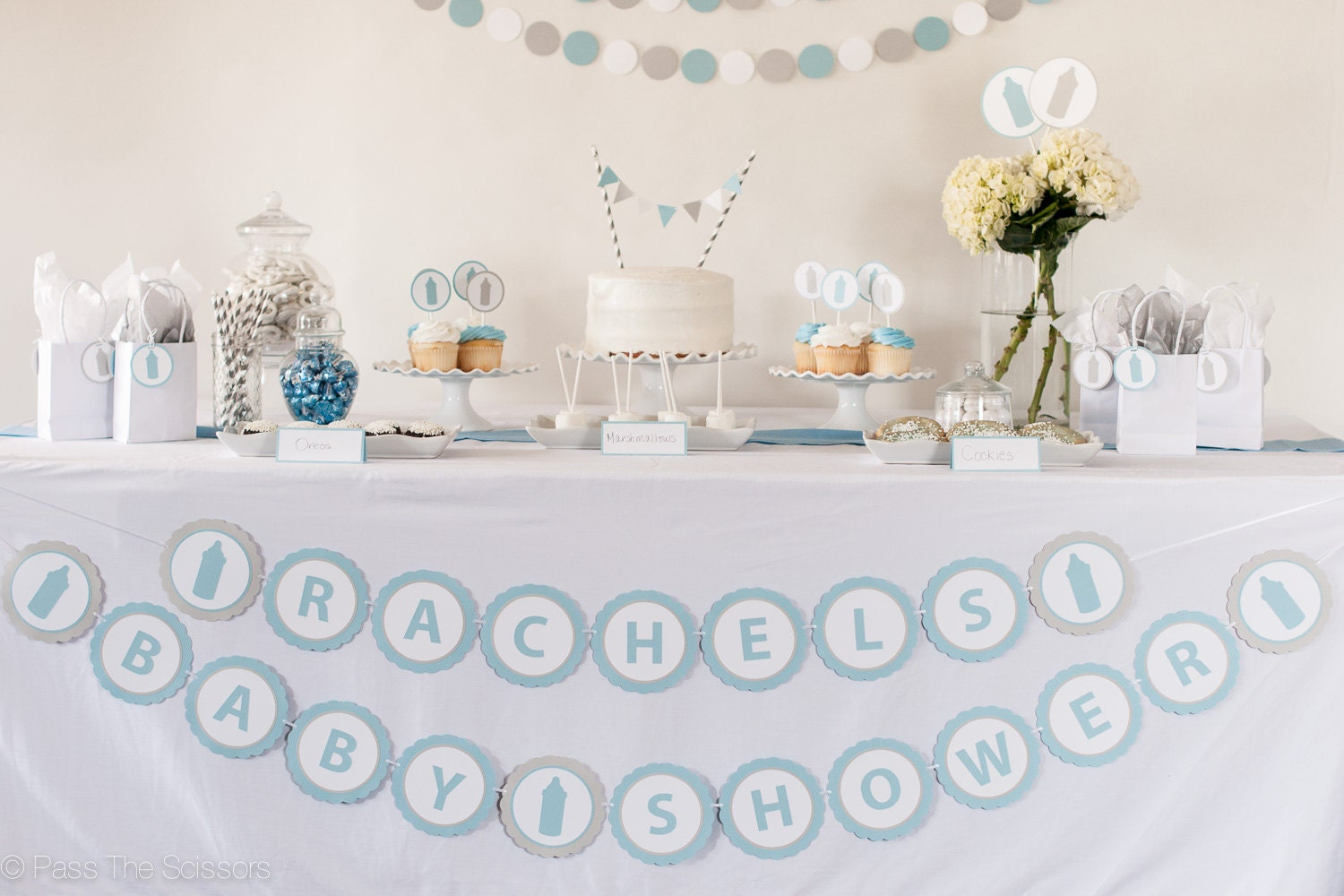 Custom name baby shower banner baby shower decoration for Baby name decoration