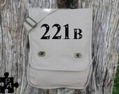 Sherlock Holmes inspired 221B Canvas Messenger Bag - Laptop Bag - iPad Bag - Diaper Bag - School Bag