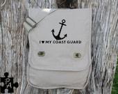 I Heart My Coast Guard - Military Support Canvas Messenger Bag - Laptop Bag - iPad Bag - Diaper Bag - School Bag