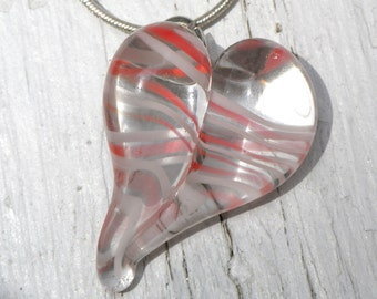 Heart Necklace Glass, Lampwork Boro Jewelry, Twisted Red with White lines Pendant