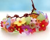 Vive les Fleurs... leather wrap bracelet... Original OceanBead Style. New Creation with lucid flowers embellished