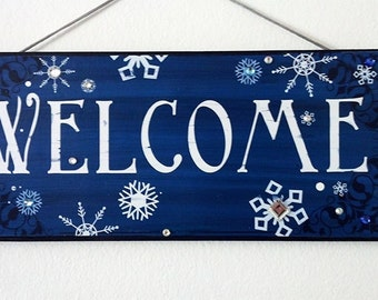 Welcome,  Frozen  Sparkle Snowflake Sign, Winter Welcome, Snowflakes with bling sign