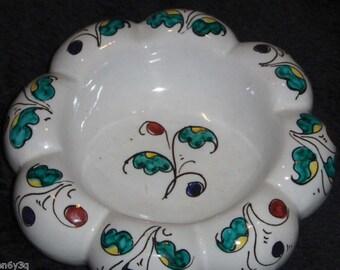 Vtg Porcelain Ceramic Dish Scalloped Rim Pillar Candle Holder Italy Pin Dish Jewelry Plate Bowl