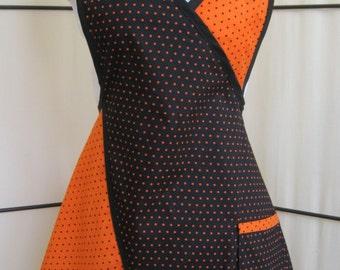 Halloween Inspired Black and Orange Polka Dot Full Apron - Petite size - Autumn Theme Apron