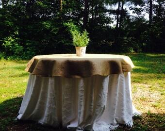 Round burlap table cloth