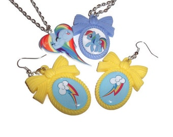 My Little Pony Jewelry Gift Set, Friendship Is Magic Pony Heart Necklace, Cutie Mark Cameo Earrings, MLP