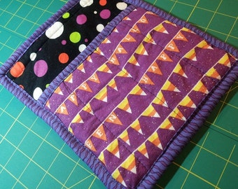 9 X 8 Black and Purple with Polka Dots Halloween Pot Holder, Hot Pad, Oven Mitt, Candy Corn Banner, Insulated, Quilted, Pocket, Loop