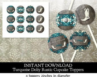 Rustic Bridal Shower Doily Lace Cupcake Toppers - Instant Download - 4 Designs in all