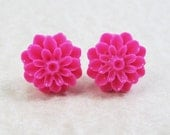 Post Stud Earrings - 15mm Hot Fuchsia Pink Resin Dahlia Flowers - Surgical Steel Posts (G-14)