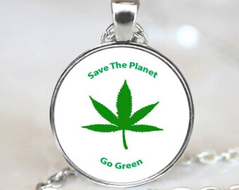 Marijuanna Leaf charm, Save the Planet necklace  pendant, Go Green Photo necklace charm (PD0478)