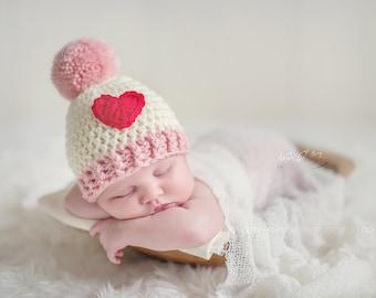 READY TO SHIP - Valentines newborn baby beanie pom pom hat - Photo Props, Photography Props, Boys, Girls, Newborn hat, Pink, Cream