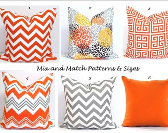 OUTDOOR Pillows, Outdoor Pillow Covers, Orange Pillow Cover, Gray, Decorative Pillow, Gray Throw Pillow, Grey Pillows,, All Sizes, Cushion
