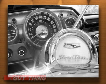 Chevrolet Picture, Black and White, 1950s Cars, Chevy, Automobile Art, Dashboard, Steering Wheel, 50s Cars, Guy Thing, MurrayBolesta Cars