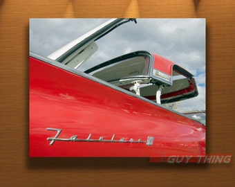Car Picture, Ford Fairlane, Skyliner, Ford Car Art, Ford Photography, Vintage Car Photo, Automobile Art, Red Car, 8x10, 11x14, 16x20, 20x24