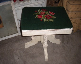 SALE>>>>>Simply Charming Vintage Rectangle Wooden/ Needlepoint Piano Bench, Shabby Chic, French Country Baby's Room, Victorian,Swivel Bench