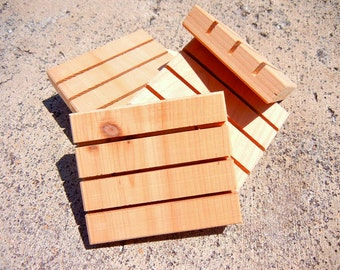 "Cedarwood Soap Deck 3.5 x 3"" Handmade Wood Spa Soap Deck soap dish"