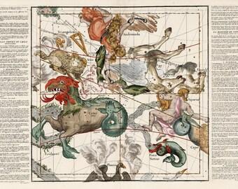 "26x19"" Celestial Zodiac Sign Map 1693 vintage celestial map Giclee Print parchment paper Nursery art Nursery room decor Aquarius  66x48 cm"