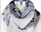 Aztec Knit Scarf,  best selling item items, grey gray  knit scarf, Tribal Infinity Scarf, Aztec Scarf, Womens gift  - By PIYOYO