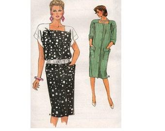 Retro 80s Vogue Sewing Pattern New Wave Style Loose Fit Button Front Drop Shoulder Dress Square Neckline Casaul Uncut Plus Size