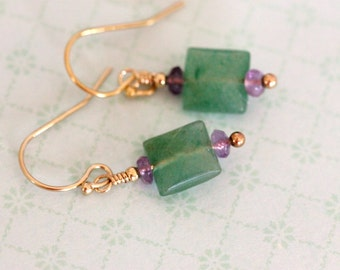 aventurine and amethyst dangle earrings, square cut emerald green gemstone earrings, 14k gold filled modern handmade jewelry by girlthree