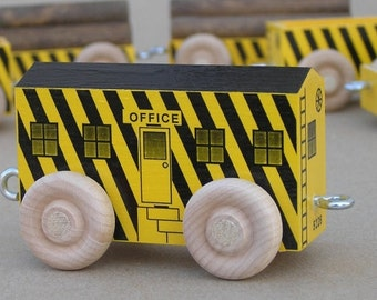 Wood Toy Train Construction Site Office Car