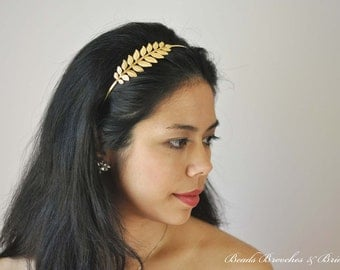 Gold Plated Leaf Headband,Grecian Headband,Hair Accessory,Gold Headband,Gold Leaf,Greek,Grecian,Leaf Headpiece,Greek Head Piece, Laurel Leaf