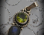 Genuine Solid Sterling Silver Faceted Peridot And Labradorite Pendant