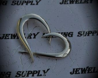 Genuine Sterling Silver Side Heart Pendant