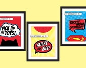 Superhero Children's Bedroom Art Prints - Set of 3 - Kid's DIY Printable Instant Download