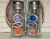 Vibrant Floral Hand Painted Salt and Pepper Shakers Mosaic Vintage Inspired Cobalt Blue