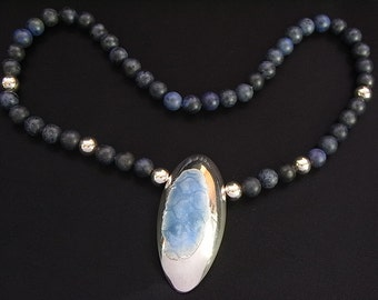 Vintage Sterling silver and blue enamel pendant on semi precious 8mm beads