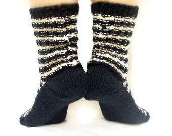 Handmade Socks, Knitted Socks, ( 3 color options )  Black, White, Cream, Knit boot socks, Gift Socks, Traditional, Long Slippers