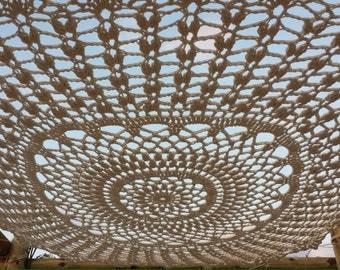 Christmas Black Friday Jewish Wedding Chuppah Giant Crochet Cotton Doily Rug Gift for Bride White Cream Ivory  June Bride Beach Canopy Bed