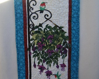 Quilted Wall Hanging - Hummingbird and Fuchsia Basket - MADE TO ORDER - Handmade by Me