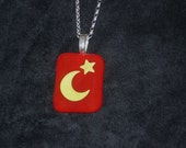 Yellow Moon Star Red Glass Pendant with Sterling Silver Necklace