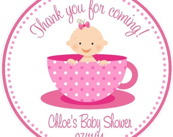 Tea Party -  Baby Shower -  Favor Tags ( Set of 12 ) / Baby Shower Favors / Baby Shower Tea Favors / Tea Baby Shower Favors
