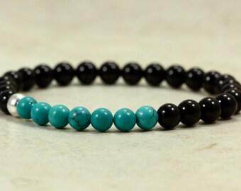 Stacking Onyx and Turquoise Bracelet, Stretch Bracelet