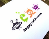 Halloween greeting card monsters