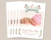 Floral Baby Girl Birth Announcement Printed or DIY Photo Card