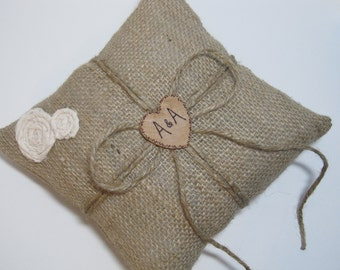 Rustic Personalized Burlap Ring Bearer Pillow For Your Wedding Day