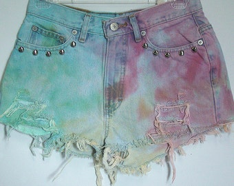 Faded Tie Dye High Waisted Shorts
