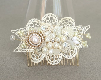 Wedding Hair Comb- Ivory Hair Accessories- Bridal Hair Comb- Wedding Hair Accessories- Bridal Hairpiece- Ivory Hairpiece- Lace Hairpiece