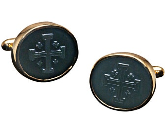 Onyx Cufflinks Jerusalem Cross Hand made Gold Plated Sterling Silver 925
