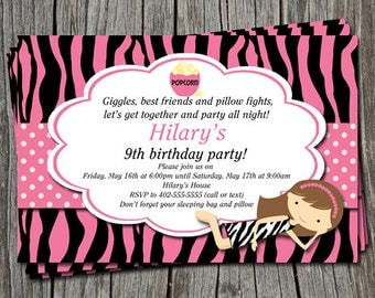 Custom Zebra Print Slumber Party or Sleep Over Birthday Party Invitation   - You Print