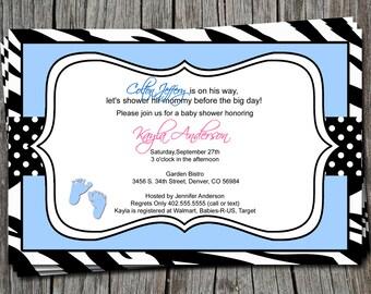 Pink Blue Polka Dot Zebra Print Baby Feet Baby Shower Invitation Card  - Any Color