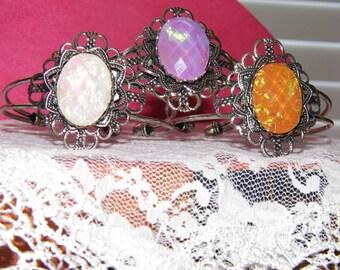 Opal Moonstone White Purple Amber Pink Blue cuff adjustable Bracelet Great Gift Silver