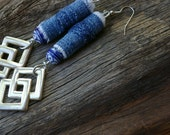Hand Made Blue Denim Beads With Reused Silver Jordache Double Diamonds Geometric Dangle Earrings